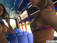 Two remarkable girls Luna and Natasha undress in the train