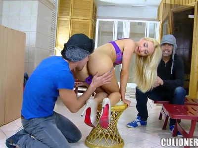 Blonde Russian whore gets fucked in private