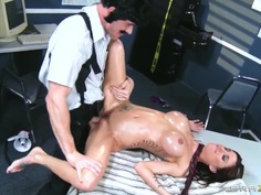 Gia DiMarco oiled and banged by Johnny Sins
