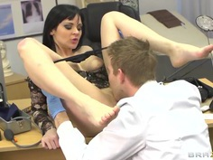 Hot Dark haired babe Anastasia Brill fucks doctor