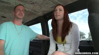 Teasing redhead Melody Jordan get in to bang bus