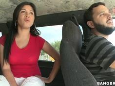 Cuddly Latina Angelina fucks hard on the bangbus