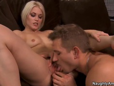 Small titted blond hottie Ash Hollywood riding the cock of Bill Bailey