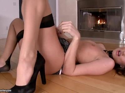 Brunette chick Tori Black is eating her panties