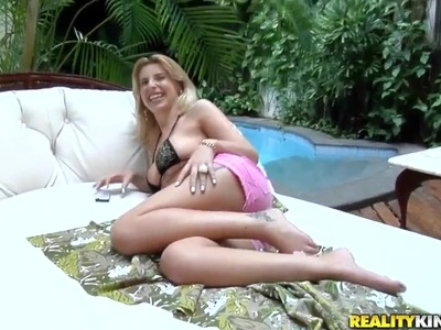 Precious Brazilian hot blonde Bruna Vieira on the pool