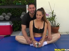 A hot mature trainer seduces a young babe