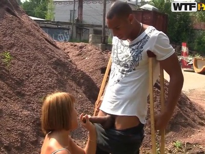 Redhead Tata sucks huge black dick in public, enjoying it deep and hard