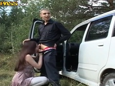 Hailey is taken to the outskirts and fucked in the mouth