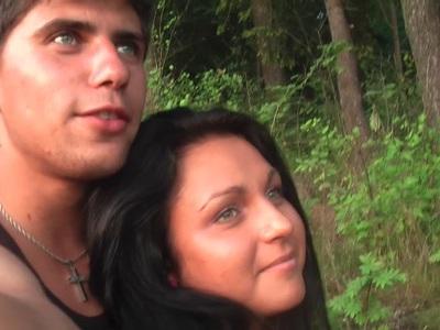Jocelyn in outdoor scene with an amateur girl sucking dick