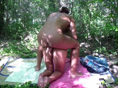 Adele Laurentia in hardcore amateur sex movie filmed in a forest
