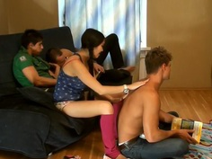 Mya Dark & Kathy & Rene & Yiki in real college sex video with plenty of hot gals