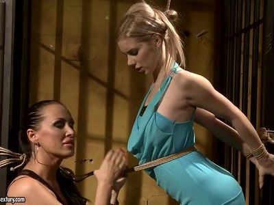 Mandy Bright tie a rope to white blonde in sexy dress