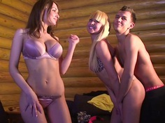 Alice Miller & Amelie Pure & Janet Haven & Trinity in naked students enjoying hardcore group shagging