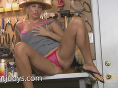 Busy Mature Olga Masturbates in Her Workshop