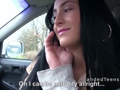 Naughty brunette teen bangs in the car