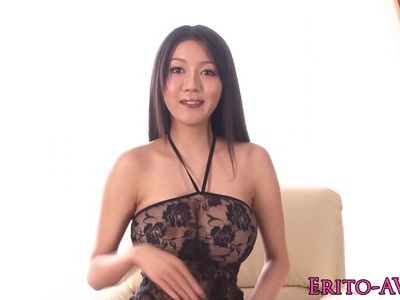 Busty oriental model nailed closeup in lingerie
