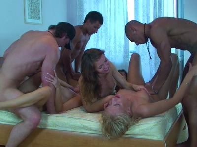Betsy & Kiki & Sweety & Tess in college orgy showing lots of handsome lassies