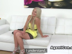 Blonde shows perky tits in casting