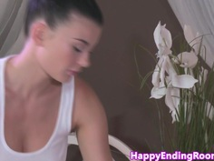 Bigtitted lesbian masseuse gets pussylicked