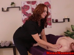 Gorgeous massage strokes clients penis