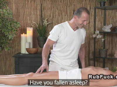 Blonde sucks masseurs cock