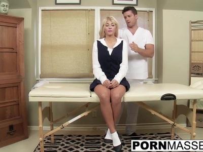 Blonde Kayla gags on big uncut dick after boob massage