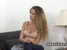 Slim curly amateur bangs in casting
