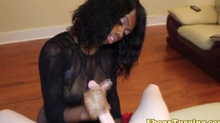 CFNM ebony wanking white dick in pointofview