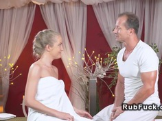 Blonde rides masseurs hard dick