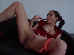 Anka in amateur girl masturbates and sucks a big schlong