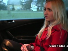 Shaved pussy Euro blonde in fake taxi