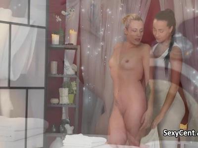 Tattooed lesbian massage and fucking