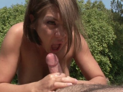 Young appetizing hottie jerking, sucking and fucking mature cock