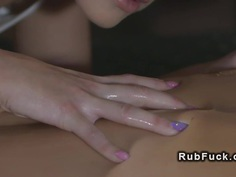 Blonde masseuse makes brunette cums