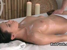 Masseur fucks shaved cunt beauty