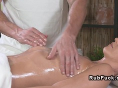 Masseur licks and fucks oiled babe