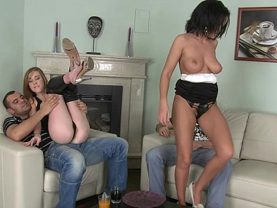 Two well shaped Euro pussies and two guys