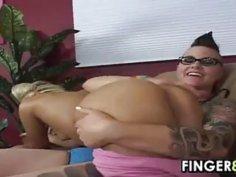 Tattooed Lesbian Licking A Blonde