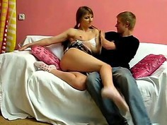 Honey is moaning from dudes pussy thrashing action