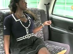 Big boobs ebony drilled by fraud driver