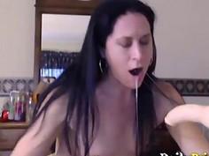 Skinny raven chick Veronica gagging