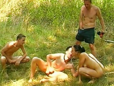 Perverted bisexual party outdoor