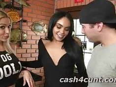 Two girls fuck a stranger for cash