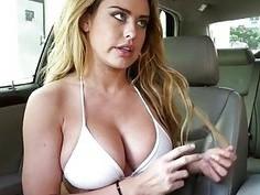 Big tits Corinna Blake nailed in the car