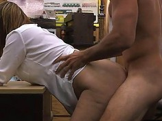 Desperate wife gets banged in the pawnshop for money