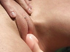 Beautys vagina is dripping with vaginal nectar