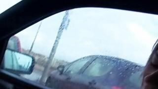 Bushy Eurobabe Anastasia nailed by stranger in the car