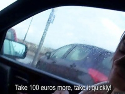 Bushy Eurobabe Anastasia nailed by stranger in the car