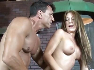 Pretty Brunette Laura Jeackson Takes a Cock