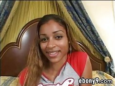 Ebony Slut On The Bed With A BBC